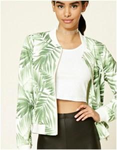 Green palm leaf printed bomber jacket