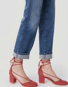 Strappy block heels in shaded rose