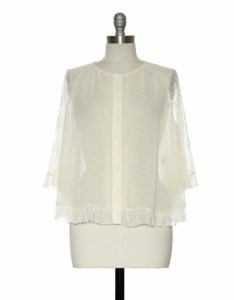 Sheer cream top with lace sleeves and hem