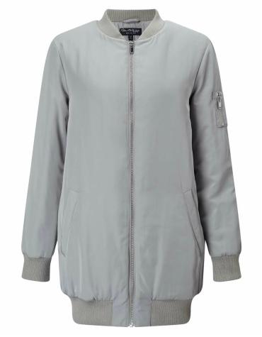 Grey longline bomber jacket