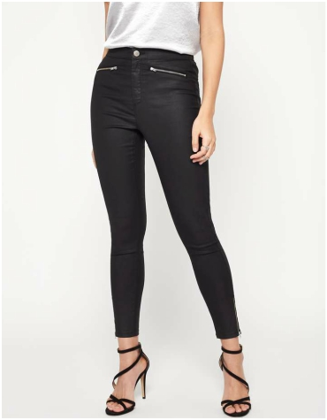Miss Selfridge Super High-Waisted Black Coated Jeans