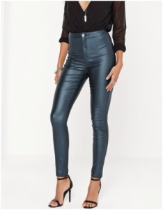 Missguided High-waisted Coated Skinny Jeans in Blue