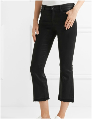 Net-a-Porter J Brand Selena Cropped Coated Mid-rise Bootcut Jeans in Black