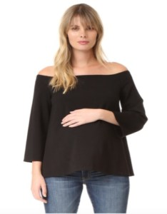 Black off shoulder maternity top with flared sleeves