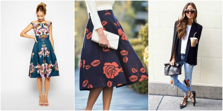 Floral summer mini dress, floral midi skirt and clutch bag, structured blazer with ripped jeans