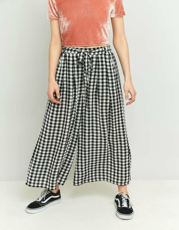 Light Before Dark Black Gingham Wide Leg Culottes