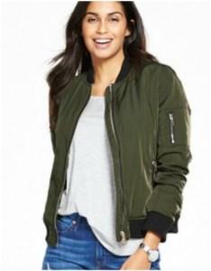 Khaki bomber jacket with fur lining