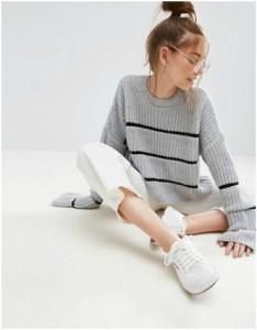 ASOS grey chunky jumper with black stripe