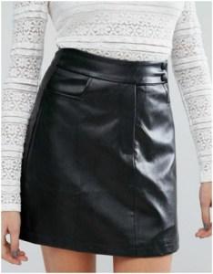 ASOS black mini skirt in faux leather