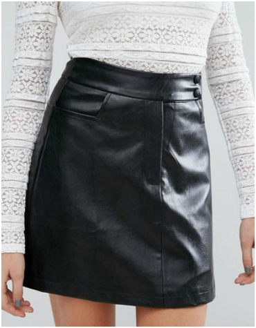 ASOS black mini skirt in faux leather