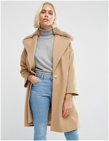 ASOS Helen Berman fur collar camel coat
