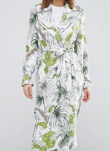 Trench Coat - Tropical Palm Print