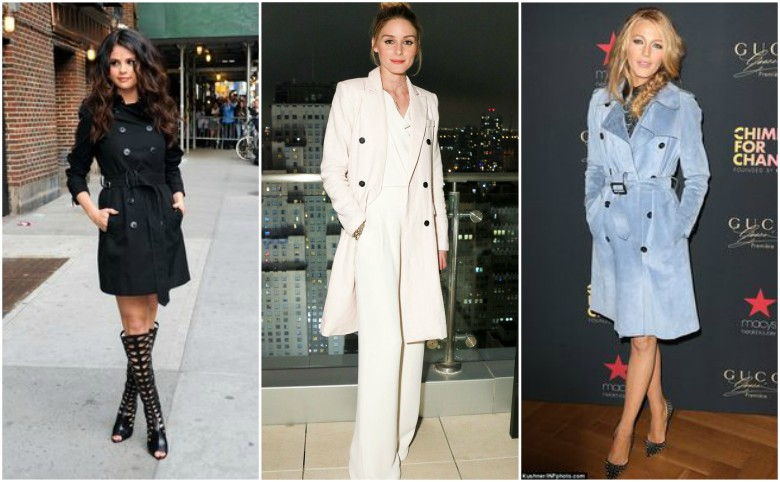 Selena Gomez, Olivia Palermo and Blake Lively wearing trench coats at night