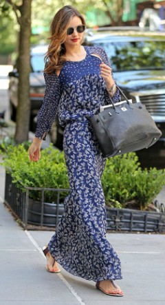 Miranda Kerr blue long sleeved maxi dress with sandals