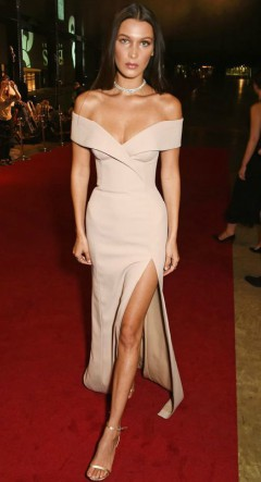 Bella Hadid champagne pink off the shoulder dress on red carpet