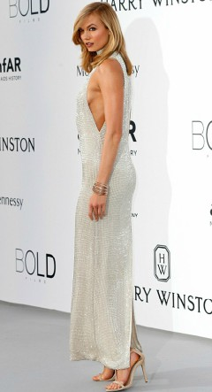 Karlie Kloss in silver dress at Cannes amfAR Gala