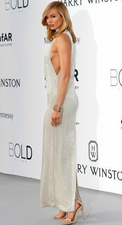Karlie Kloss in silver dress at Cannes amfAR Gala