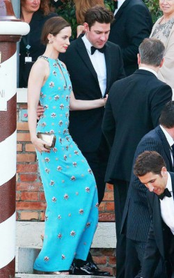 Emily Blunt blue long dress at event