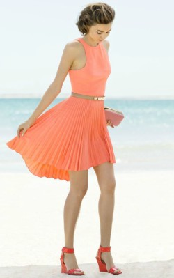 Miranda Kerr beach photoshoot in coral dress