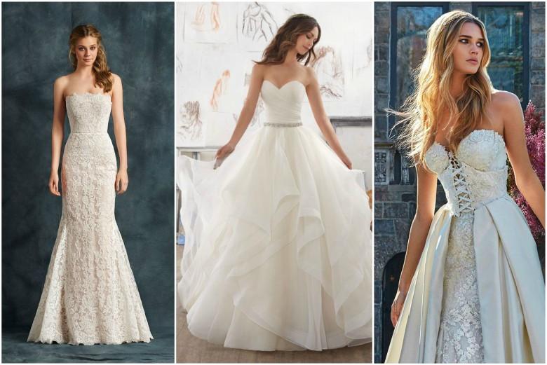 Three brides wearing strapless wedding dresses