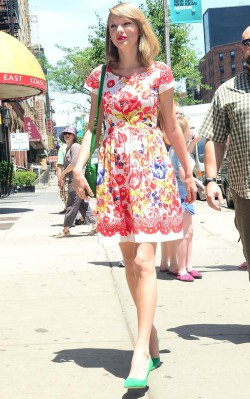 Taylor Swift in a white pink and blue sundress (street style)