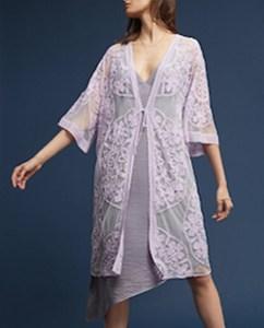 Lilac Purple Kimono Embroidered