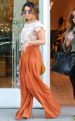 Vanessa Hudgens boho inspiration street style - orange pants