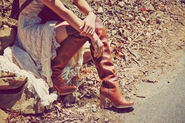 What Dresses to Wear with Over the Knee Boots - tan over the knee boots with long white lace dress