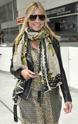 Heidi Klum leather jacket, maxi dress and big scarf at airport