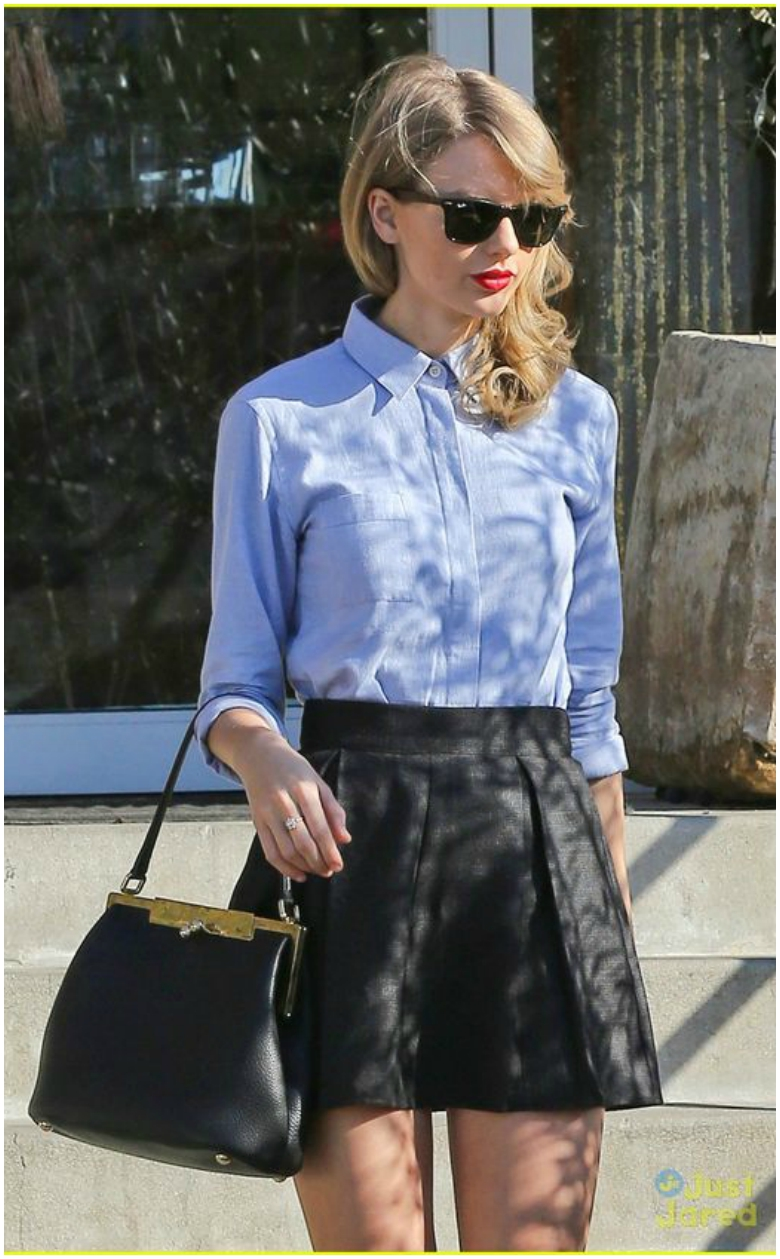 Taylor Swift Leather Skater Skirt Denim Shirt