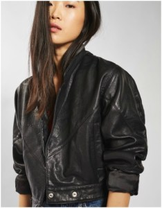 Topshop cropped black leather jacket