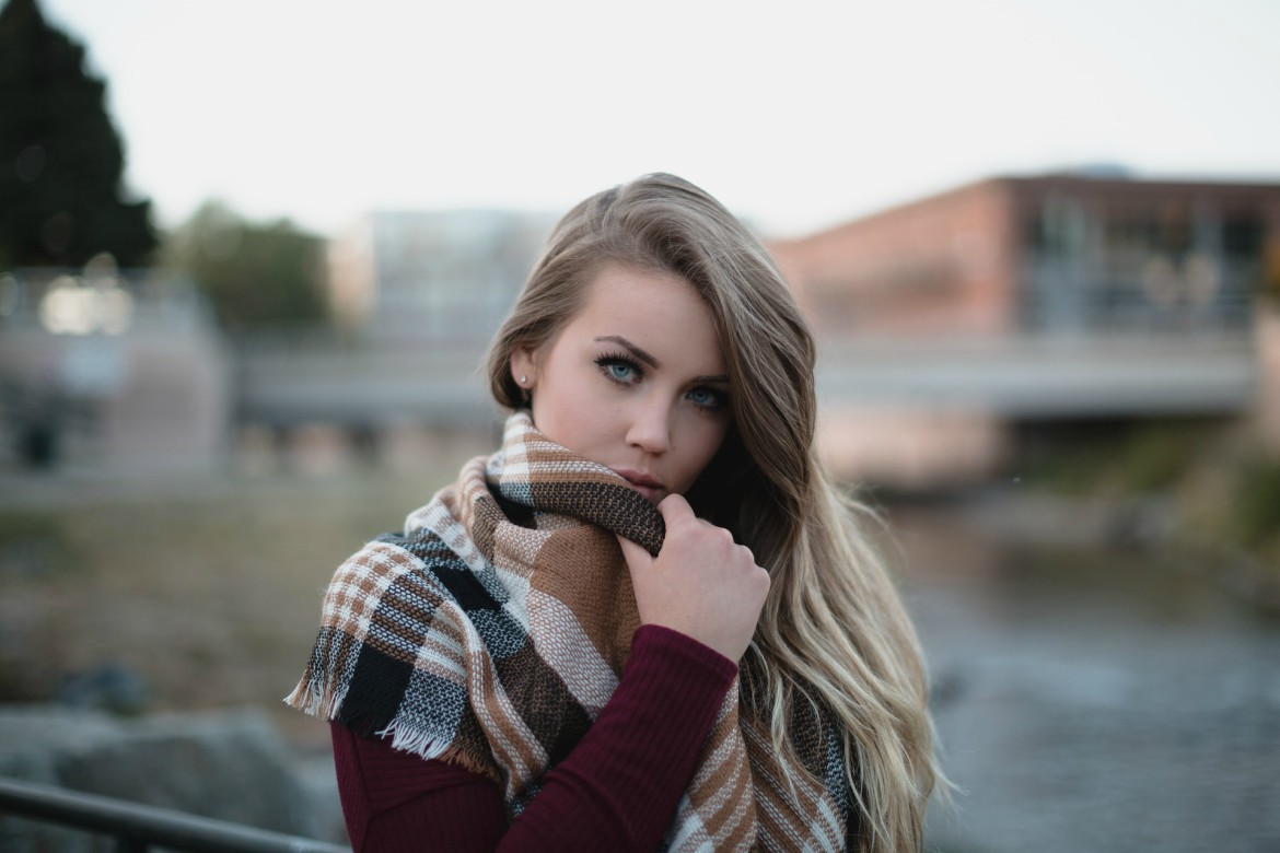Woman wearing oversized scarf