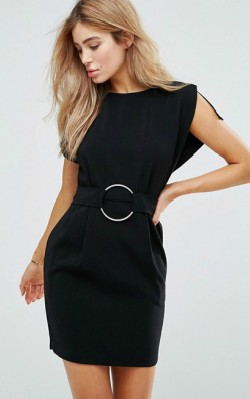 12 Pieces for a Hepburn-inspired Wardrobe - ASOS Split Cap Sleeve Mini Dress with Modern Ring Belt