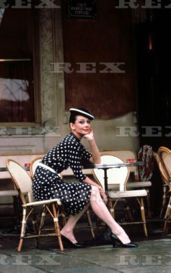 Audrey Hepburn semi formal style black and white polka dot dress outside cafe in Paris - shop the look