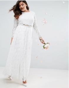 ASOS CURVE BRIDAL Lace Long Sleeve Maxi Prom Dress