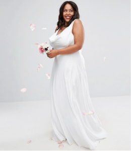 ASOS CURVE BRIDAL Soft Drape Front Maxi Dress