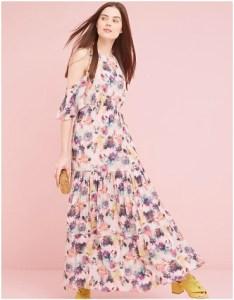 Anthropologie Kalia Floral Cold Shoulder Maxi Dress