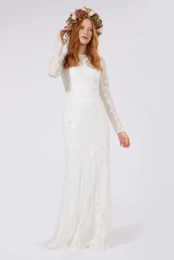 Debenhams Nine by Savannah Miller - Ivory 'Eligenza' long sleeve wedding dress