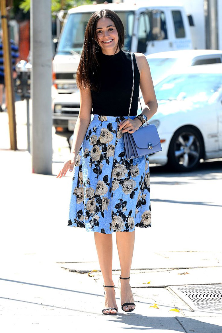 Emmy Rossum Blue Skirt Wedding Guest Dresses Alexie