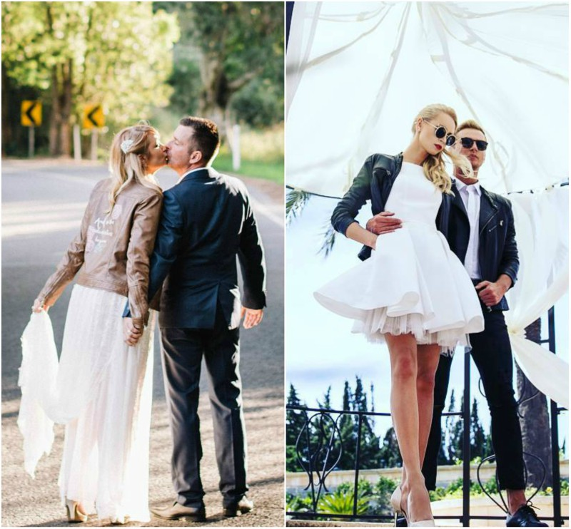 how to wear a leather jacket with a wedding dress