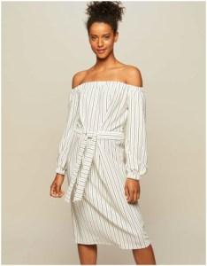 Miss Selfridge Striped Self Tie Bardot Dress