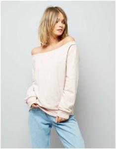 New Look Pink Bardot Neckline Sweater