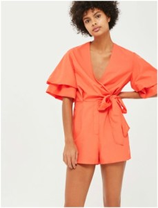Topshop Orange Drama Sleeve Poplin Playsuit