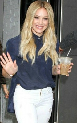 Hilary Duff street style blue silk shirt and ripped white jeans - shop the look