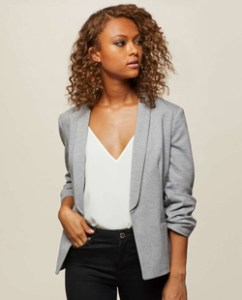 Miss Selfridge Grey Ruched Sleeve Ponte Blazer