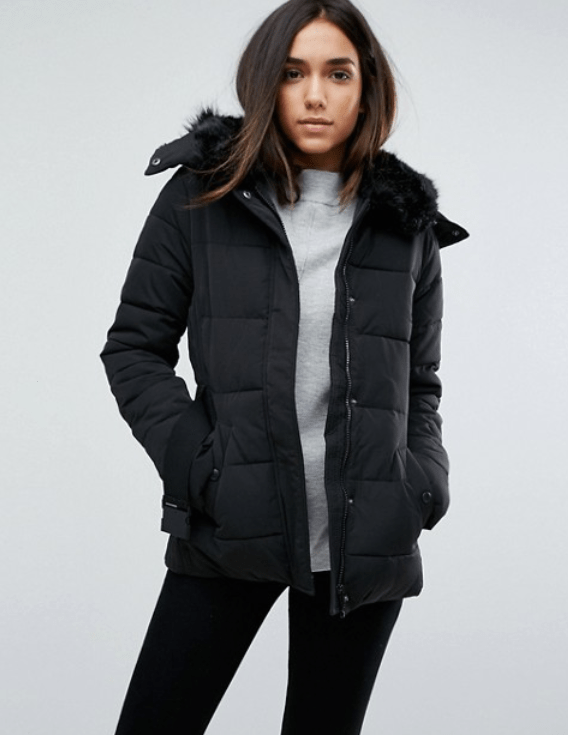 ASOS Warehouse Belted Faux Fur Collar Padded Jacket