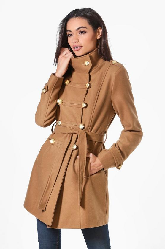 Boohoo Jade Military Wool Look Coat