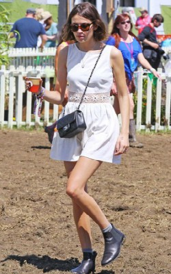 Alexa Chung festival style white sundress and chelsea boots - shop the look