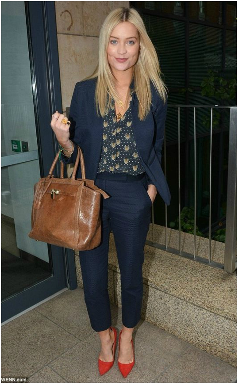 Laura Whitmore blue suit with patterned shirt