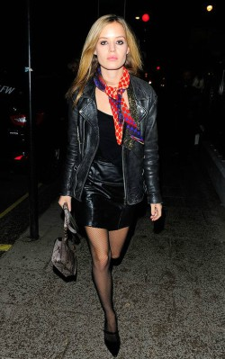 Georgia May Jagger street style spotty silk scarf with black dress and leather jacket - shop the look